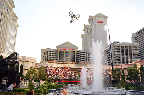 "In 2006, in a place first made famous by Evil Knievel's 1968 motorcycle jump, X Games motocross star Mike ""The Godfather"" Metzger set a Guiness World Record. He completed a 125-foot leap that included a back flip over the Caesars Palace fountains."
