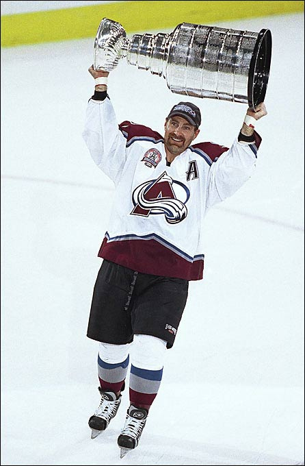 After failing to win a Stanley Cup in 21 seasons with the Boston Bruins, Bourque was traded to Colorado midway through the 1999-2000 season. In his first full season with the Avalanche the 40-year-old Bourque finally won the Cup. In a ceremony three days later, Bourque returned to Boston and celebrated his Cup victory in front of 20,000 fans.
