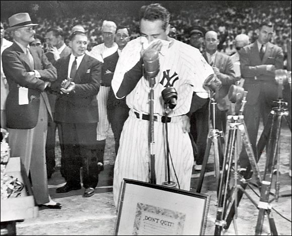 "The Yankees celebrated one of their most famous players by making Gehrig's No. 4 the first retired number in baseball history. Then, in one of the most memorable scenes in sports history, a teary-eyed Gehrig said to the Yankees faithful, ""Today, I consider myself the luckiest man on the face of the earth."""