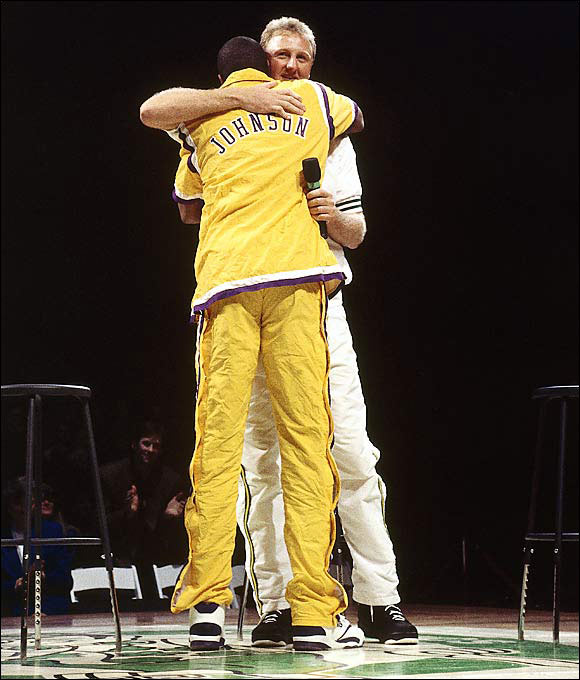 "Bird and Magic Johnson made one of the most compelling rivalries in sports history, but the two also struck a close friendship over the years. The bond was on display when Johnson showed up to Bird's retirement ceremony dressed in a Bird jersey and said of his longtime rival, ""Larry, you only told me one lie. You said there will be another Larry Bird. Larry, there will never, ever be another Larry Bird."""