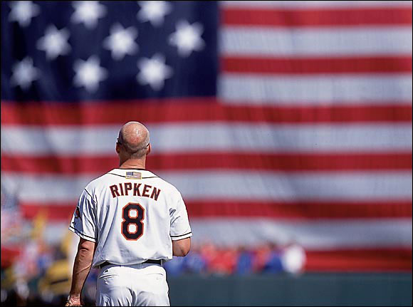 In Ripken's final All-Star Game of his final season, Alex Rodriguez, the AL's starting shortstop, moved over to third base to allow the Iron Man to play shortstop as he had for most of his career. After being greeted with a standing ovation in his first at-bat, Ripken homered on his way to game MVP honors. Baltimore also gave him a hero's farewell ceremony (left) and retired his number after his final game there in October.
