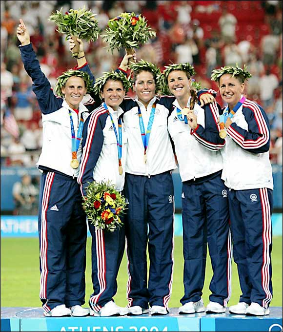 With their 2-1 victory over Brazil in the gold medal game of the Athens Olympics, veterans Kristine Lilly, Mia Hamm, Julie Foudy, Brandi Chastain and Joy Fawcett went out on top in their last game together. The contest also marked the last international competition for Hamm, Foudy and Fawcett.