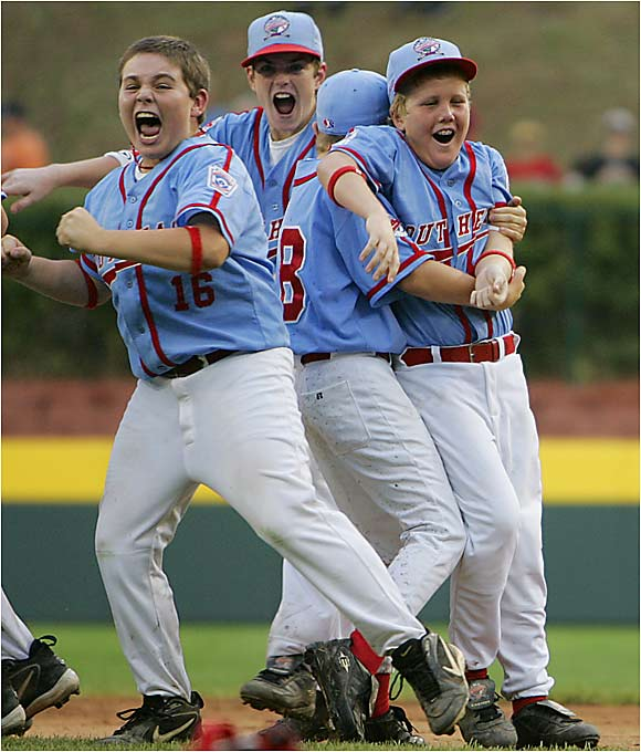Columbus, Ga., players celebrate their 2-1 victory over Japan, which marked the second year in a row that a U.S. team won the Little League World Series title.
