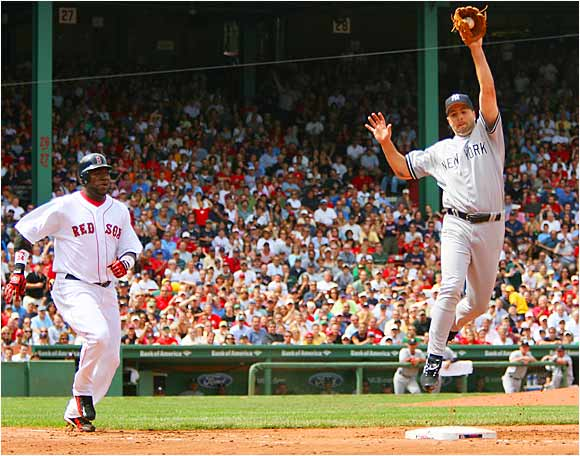 Yankees pitcher Cory Lidle comes down with a high throw to first from Craig Wilson for an out during New York's 2-1 victory over Boston on Aug. 21. Lidle pitched six scoreless innings as the Yankees swept the Sox in their five-game series at Fenway.