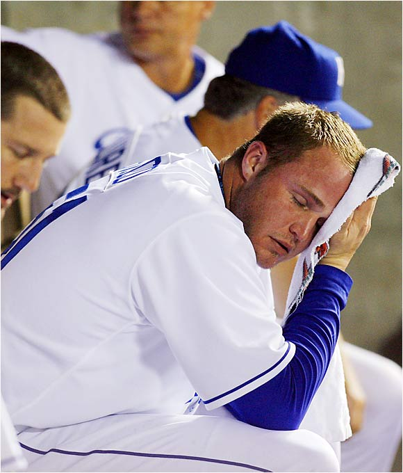 Royals reliever Andrew Sisco sits dejected after allowing two runs in the tenth inning of a slugfest with the Indians at Kauffman Stadium on Aug. 23. The Royals had jumped to a 10-1 lead in the first inning, but the Indians rallied to win 15-13.