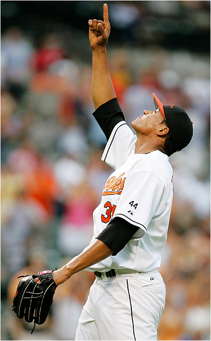 Orioles starting pitcher Daniel Cabrera had 10 strikeouts in a five-hit, complete-game shutout of the Blue Jays on Aug. 19, including a game-ending strikeout of Gregg Zaun at Camden Yards.