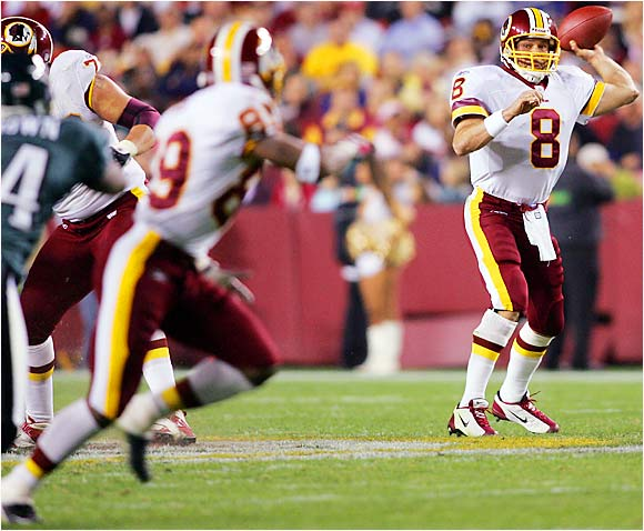 Brunell's strong chemistry with Moss led the Redskins to the playoffs last year. Brunell likes to have a go-to guy -- remember Jimmy Smith in Jacksonville? -- and Moss stepped up to be a consistent force in 2005. He had 1,483 receiving yards, including several big plays at the end of games.