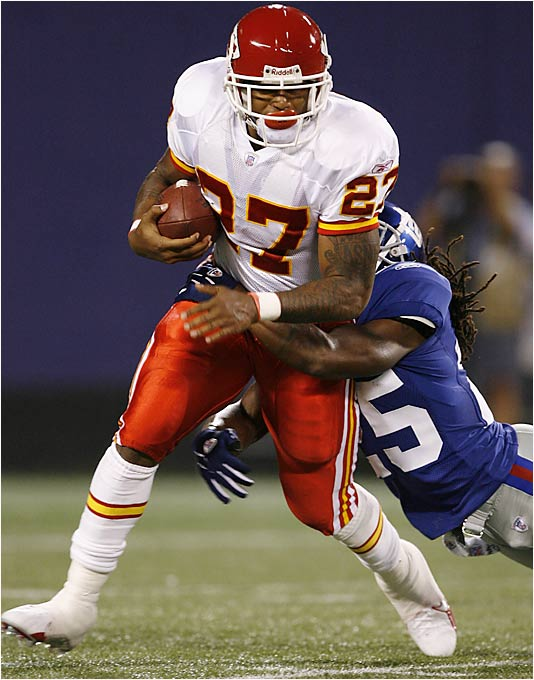 Kansas City's offense is having trouble adjusting to new coach Herm Edwards' ball-control style. It was shut out 17-0 by the Giants on Aug. 17, and there are major questions on the offensive line. The Chiefs haven't been able to talk perennial Pro Bowler Willie Roaf out of retirement, and All-Pro Will Shields is out with a high ankle sprain. This could mean trouble for K.C. fans and everyone who drafted Larry Johnson (pictured) No. 1 in their fantasy draft.