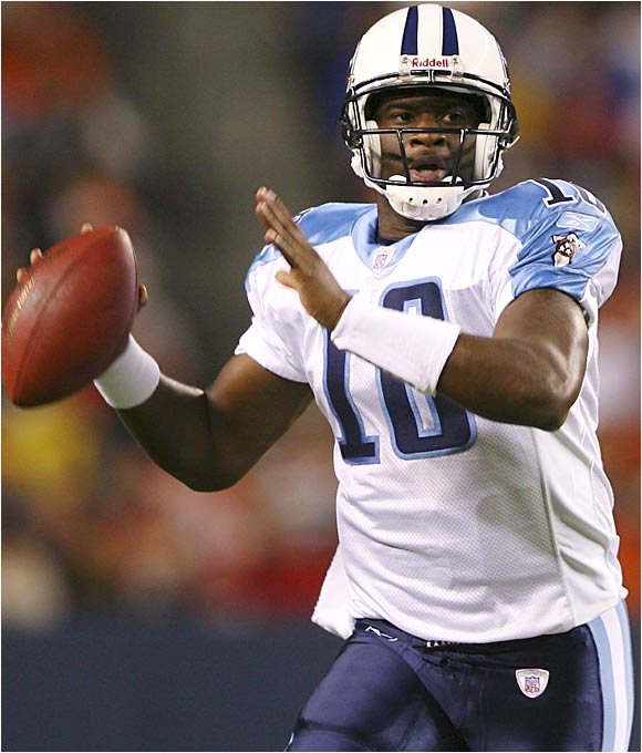 Although Billy Volek hasn't been impressive in preseason, it appears his starting job is safe for the time being. But the Titans appear to be interested in working rookie Vince Young (pictured) into games immediately. Considering Tennesse might be a bad team from the start, coach Jeff Fisher might go with Young full time early in the season.