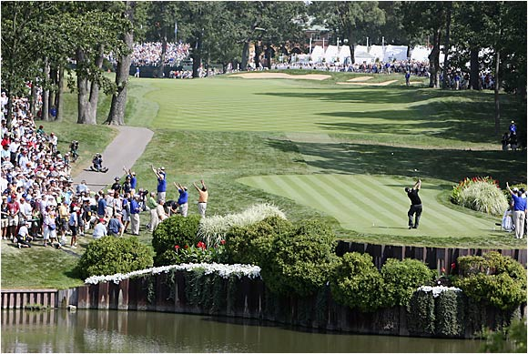 Phil Mickelson tees off at the 18th during the opening round at the PGA.