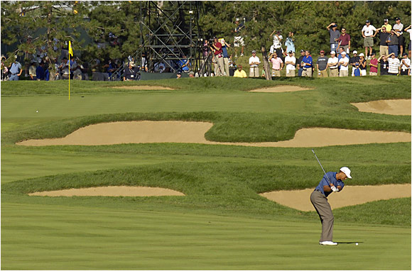 Tiger Woods ran into trouble on the par-5 10th hole on Thursday, missing the green with his third shot and then chipping 35 feet by the hole before finishing with a bogey.