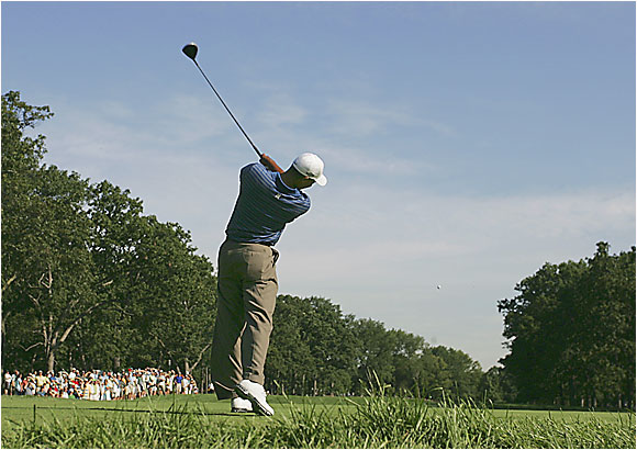 Tiger Woods, teeing off here on the 12th hole at Medinah, has won his last six majors in which he's scored in the 60s on Day 1.