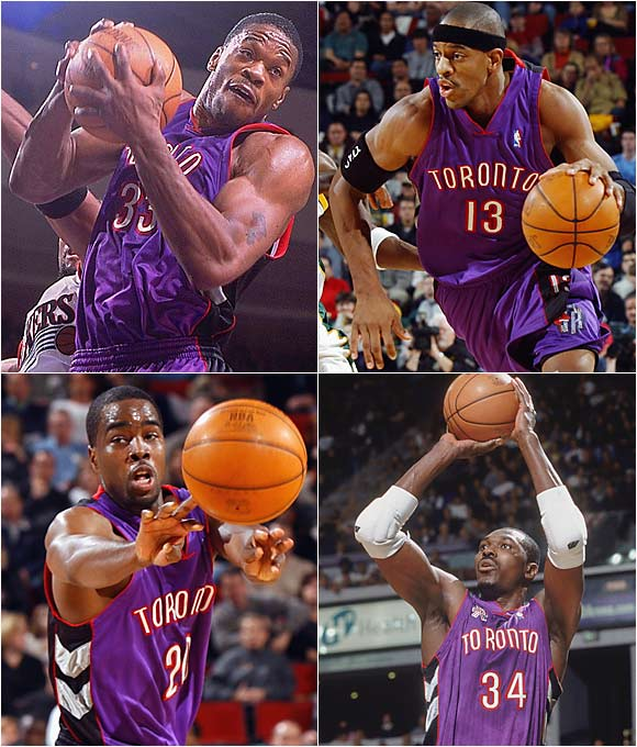 Hakeem Olajuwon, Toronto Raptors, 2001: three years, $17 million<br><br>Antonio Davis, Toronto Raptors, 2001: five years, $60 million<br><br>Jerome Williams, Toronto Raptors, 2001: seven years, $40.8 million<br><br>Alvin Williams, Toronto Raptors, 2001: five years, $35 million<br><br>This quartet of ill-fated signings set the Raptors back a half-decade. For $150 million, you'd hope to at least get beyond the first round of the playoffs, but the Raptors won only 42 games in the 2001-02 season and lost to the Pistons in the playoffs. Even with Alvin's recent buyout, the Raptors are still paying for these moves.