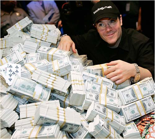 Here's World Series of Poker winner Jamie Gold with his winnings -- $12 million. And some people say gambling doesn't pay.