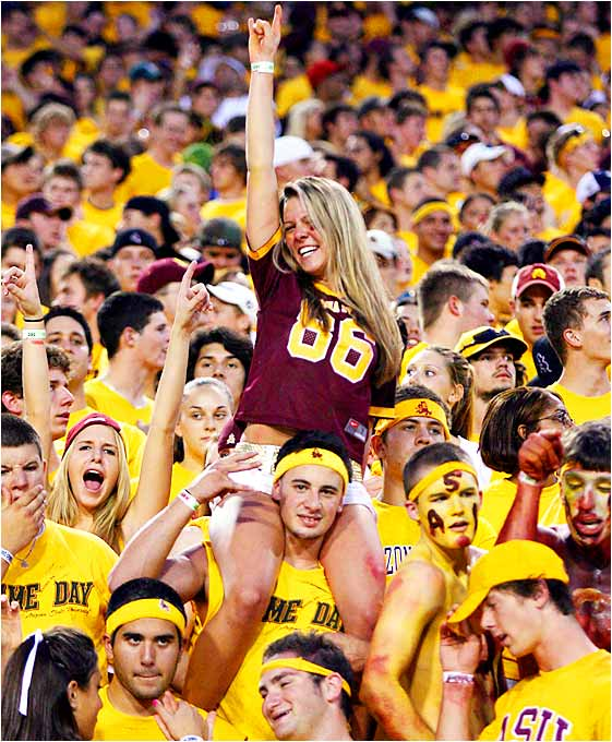 This Arizona State fan got revved up for the Sun Devils' clash with Nevada on Saturday. The fans went home happy as ASU won easily, 52-21.