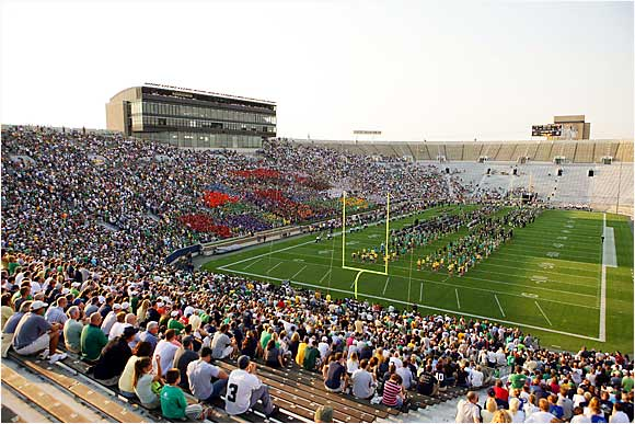 Approximately 45,000 fans attended the Notre Dame pep rally before the Fighting Irish took on Penn State. The pep rally was moved to Notre Dame Stadium to accommodate the crowd.