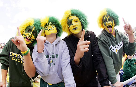 A fantastic job of face painting by these Ducks fans, who witnessed one of the season's most controversial games as Oregon pulled out a one-point victory over Oklahoma.