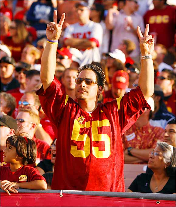 This Trojans fan conjured the spirit of Willie McGinest and Junior Seau during Saturday's 28-10 victory over Nebraska.