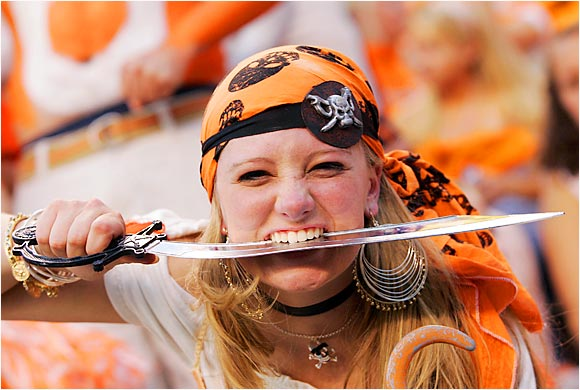 We're not exactly sure what was going on with this fan, but we certainly respect the pirate get-up. Unfortunately, her Vols couldn't keep up with the Gators.