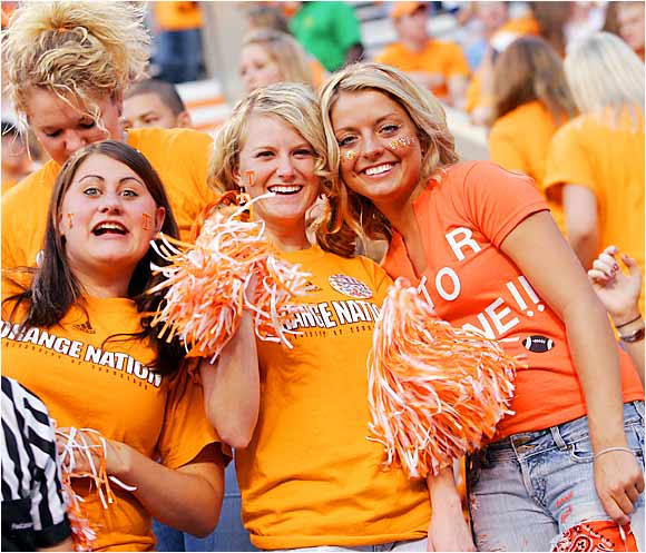 These three Tennessee fans came prepared with pom-poms and Orange Nation shirts, but, alas, their beloved Vols fell short, 21-20, to Florida.