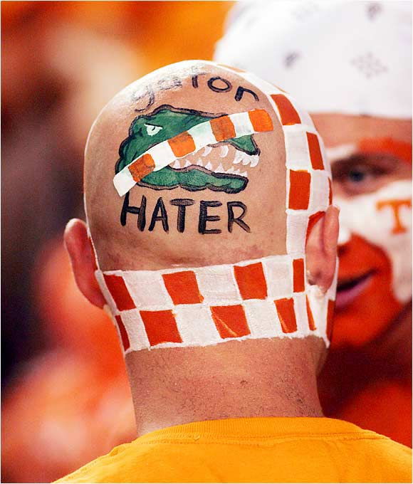 Something tells us that this fan is not that fond of the Gators. Unfortunately for him, they would win the game, 21-20. We guess that didn't please him much.