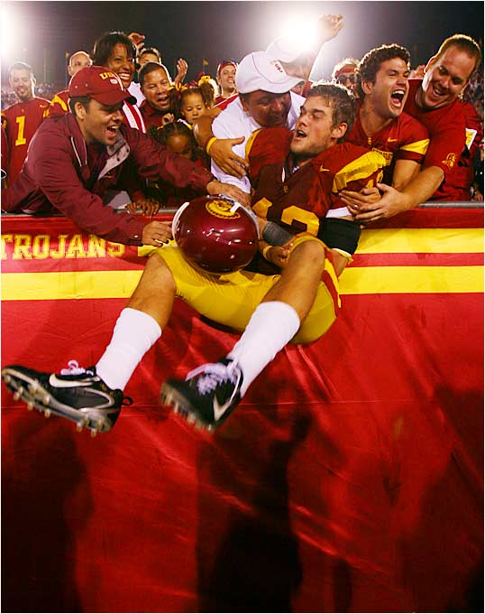 Dallas Sartz soaked in the win with the crowd after the third-ranked Trojans' win over No. 22 Nebraska.