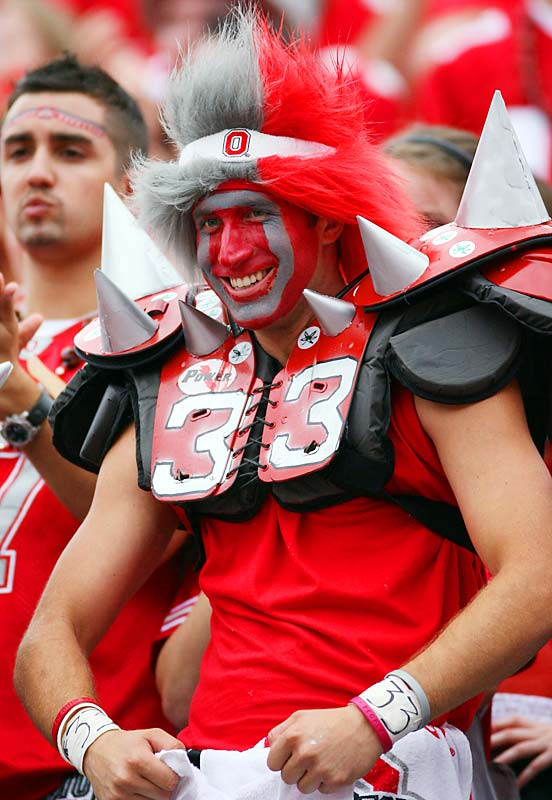 This Buckeye fan channeled the spirit of the Road Warrior Animal, aka Joseph Lauranaitis, father of OSU star linebacker James Lauranaitis.
