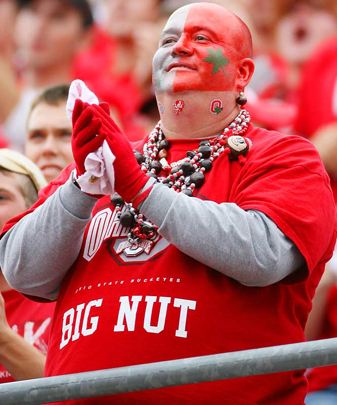 We're not sure what look this Buckeye fan was going for, but we'd never criticize someone who puts in this much effort for a game.