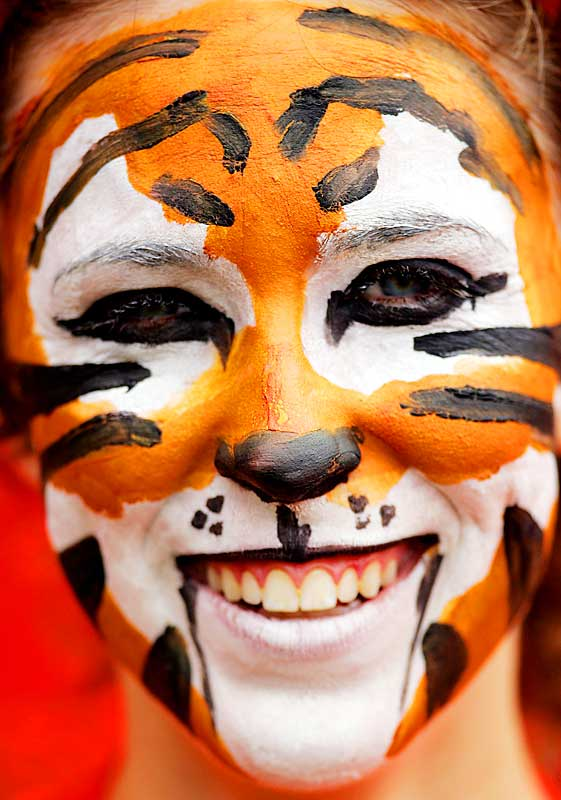 This Clemson fan takes the early lead for Best Face Paint of the Season with her Clemson Tiger. The paint likely inspired the Tigers, who easily disposed of UNC, 49-7.