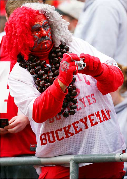 Dressed In one of the stranger outfits we've ever seen, this Ohio State fan enjoyed the top-ranked Buckeyes' 35-12 victory over Northern Illinois.