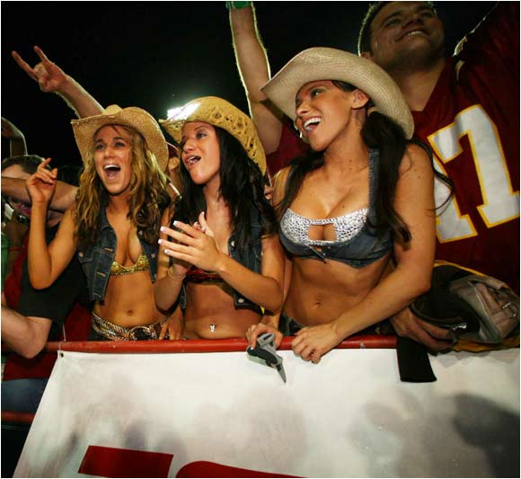 The famous FSU Cowgirls enjoy the Seminoles 13-10 victory over Miami on Monday night.