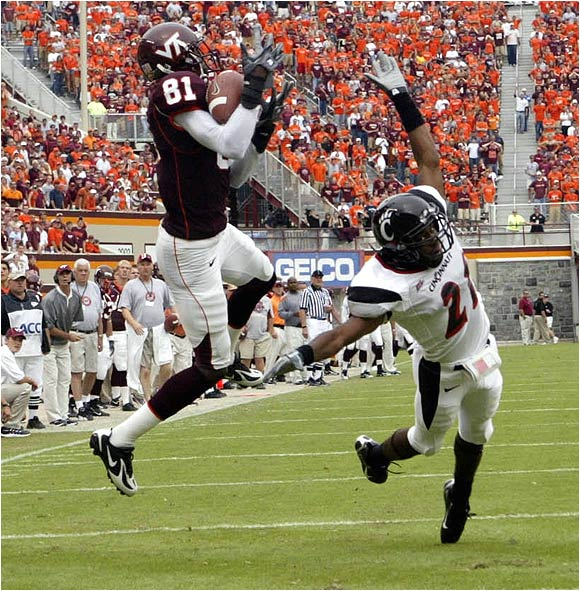 Virginia Tech's Justin Harper had two catches for 64 yards including this 47-yard TD grab.