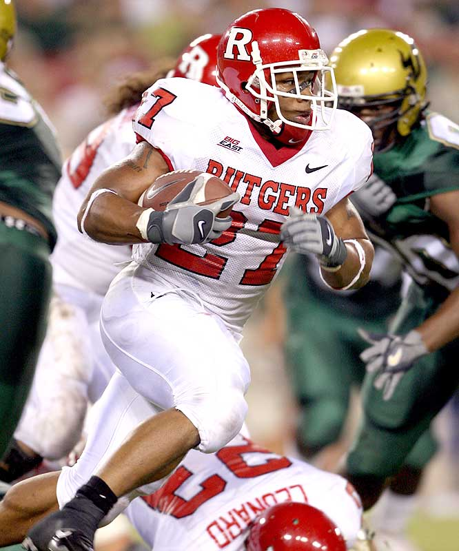Ray Rice ran for 202 yards and two scores as Rutgers improved to 5-0 for the first time since 1976.