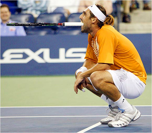 Marcos Baghdatis showed his frustration during his match with Andre Agassi. Baghdatis rallied from a two-set deficit with the crowd against him but finally lost to Agassi.