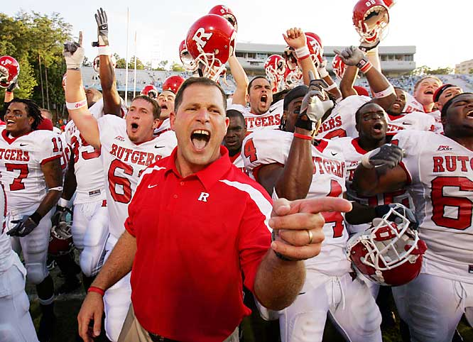 Voted into the AP Top 25 (No. 23) for the first time in 30 years, Rutgers is off to a 4-0 start for the first time since 1980. The Scarlet Knights eked out a 21-16 win over North Carolina in the opener and pummeled Illinois, Ohio and Howard. Rutgers' key is its dynamic backfield duo of RB Ray Rice and FB Brian Leonard.