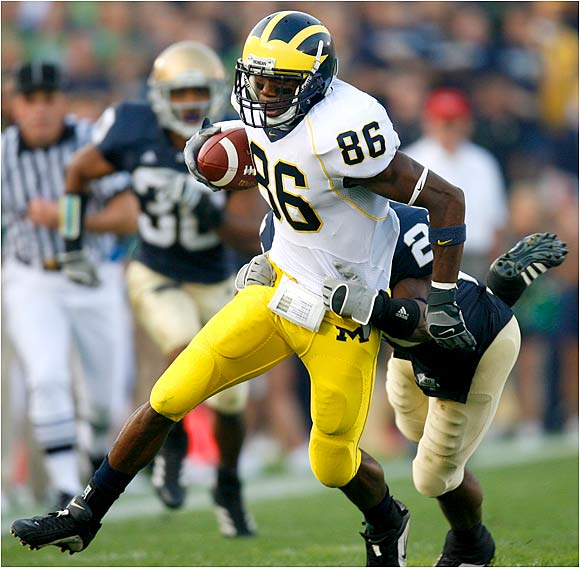 Mario Manningham making one of his four receptions. He had 137 yards against the Irish.