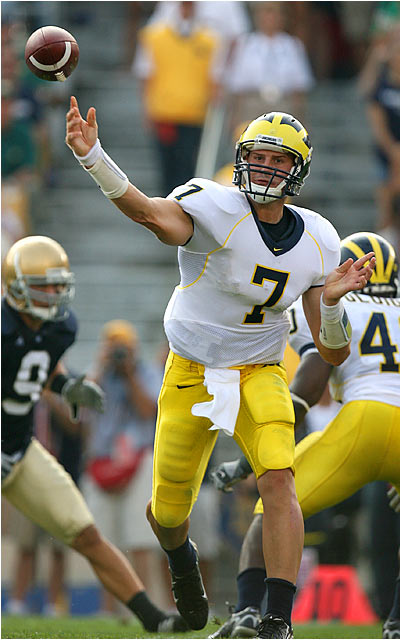 Michigan quarterback Chad Henne was 13 of 22 for 220 yards during the rout of Notre Dame.