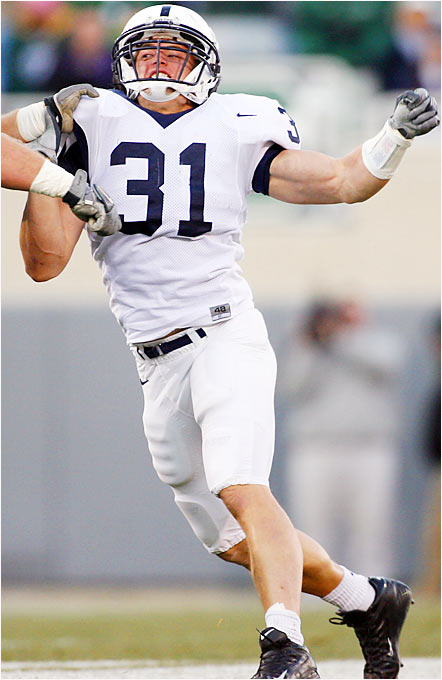 Last year's Butkus and Bednarik awards winner has struggled a bit in the early going. One thing that has held him back is the knee brace he must wear after hurting his knee in the Orange Bowl. He's also had some trouble making the move to inside linebacker in Penn State's new 3-4 defense. He'll have his hands full trying to contain Ohio State QB Troy Smith, a leading Heisman candidate at this point.