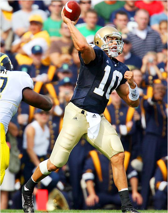 He entered the season as the Golden Child for the Golden Domers. But a lackluster, three-pick performance in a 47-21 loss to Michigan has brought him back to Earth. Now he's looking for revenge against QB Drew Stanton and Michigan State, who beat Notre Dame 44-41 in overtime last season. Quinn threw for 487 yards and five touchdowns in the losing effort.