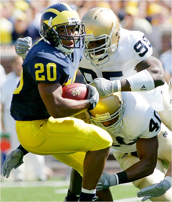 The Irish have defeated the Wolverines in each of the past two seasons, but they have yet to face prolific Michigan running back Mike Hart for a full game. In 2004, Hart was a true freshman who had not established himself as Michigan's starter and carried the ball only five times. Last season he went down with a hamstring injury in the first quarter. The Wolverines' diminutive bruiser enters Saturday's game with 262 yards rushing and three touchdowns in Michigan's first two games.