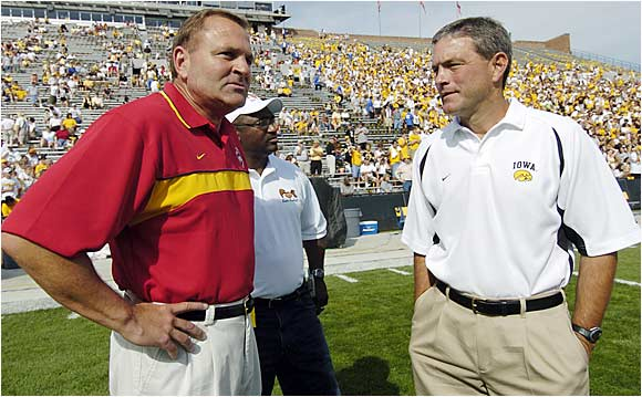 Since Ferentz took over Iowa in December 1998, he has built the team into one of the most consistent and well-respected programs in the country, but he still struggles mightily against McCarney and in-state rival Iowa State. Ferentz has managed only two wins in seven showdowns against McCarney in the state's biggest sporting event. Last year Hawkeyes QB Drew Tate was knocked out of the game with a concussion in the second quarter and Iowa State stomped Iowa 23-3.