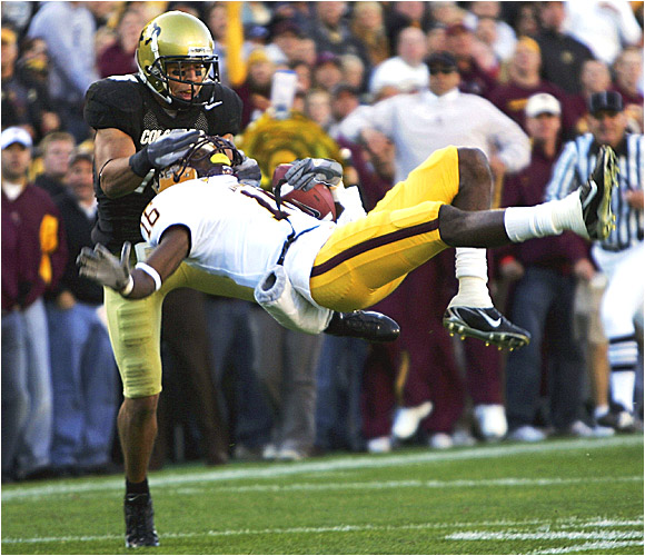 ASU wide receiver Nate Kimbrough is knocked off his feet as the Sun Devils stayed unbeaten while keeping CU winless.