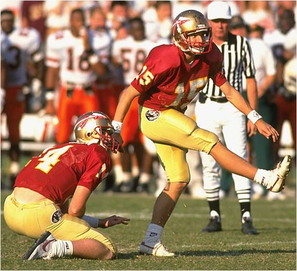 Known simply as Wide Right, this game was the beginning of much heartbreak for Seminoles coach Bobby Bowden. Miami overcame a 16-7 fourth-quarter deficit to take a one-point lead. After nailing three field goals earlier in the game, Florida State kicker Gerry Thomas lined up for a 34-yard attempt on the last play of the game. As the clock expired, Thomas' kick infamously sailed to the right.