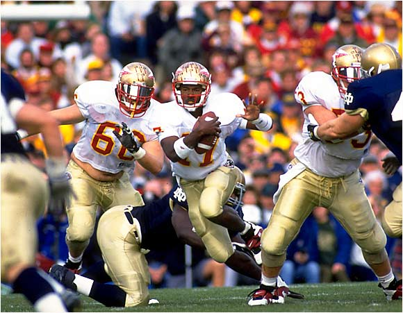 The Seminoles and the Irish each carried a 16-game winning streak into this showdown. Notre Dame led 24-7 in the third quarter, but eventual Heisman Trophy winner Charlie Ward led a huge comeback. Florida State had the ball on Notre Dame's 14 in the final seconds, but Shawn Wooden preserved the Irish win by knocking down a pass in the end zone as time expired. Notre Dame lost to Boston College the next week, while FSU went on to win the national title.