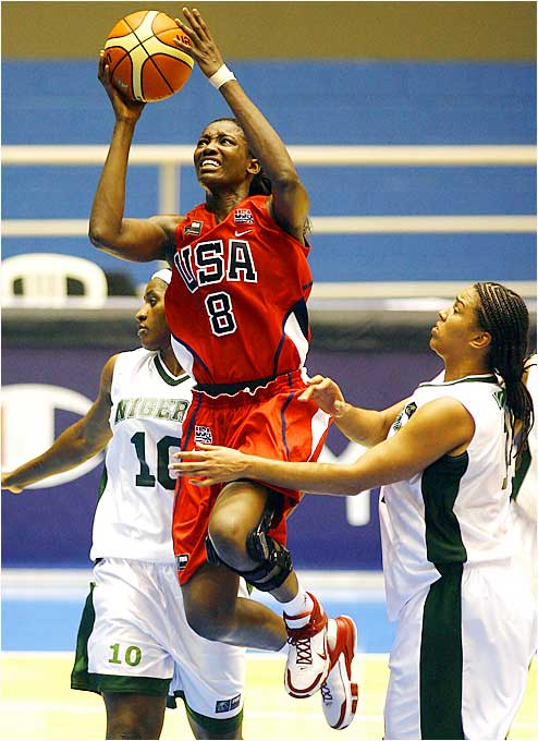 Playing in her third world championships, DeLisha Milton-Jones led the U.S. with 13 points in its second game, a 79-46 victory over Nigeria.