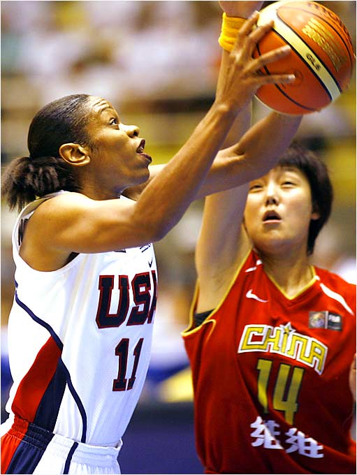 Injuries forced Tina Thompson to miss the 1998 and 2002 world championships, and she didn't play in her first Olympics until 2004, when she led the U.S. in scoring in its semifinal victory over Russia and in its gold-medal-clinching win over Australia. She averaged 15.3 points in the first three games in Brazil.