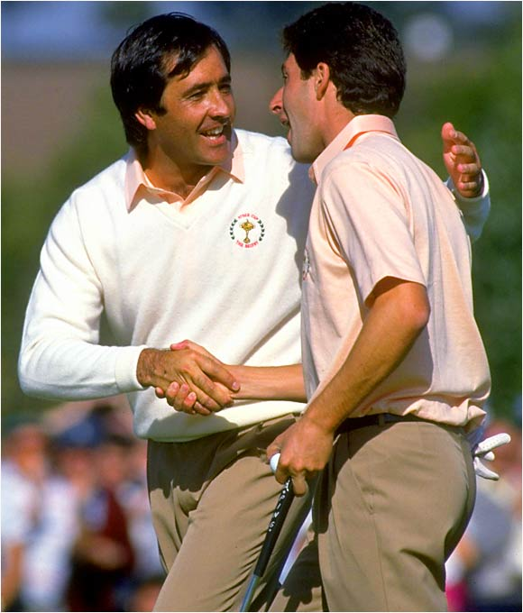 Spanish sensations Seve Ballesteros (left) and Jose Maria Olazabal paired up to electrify the gallery at the Belfry.
