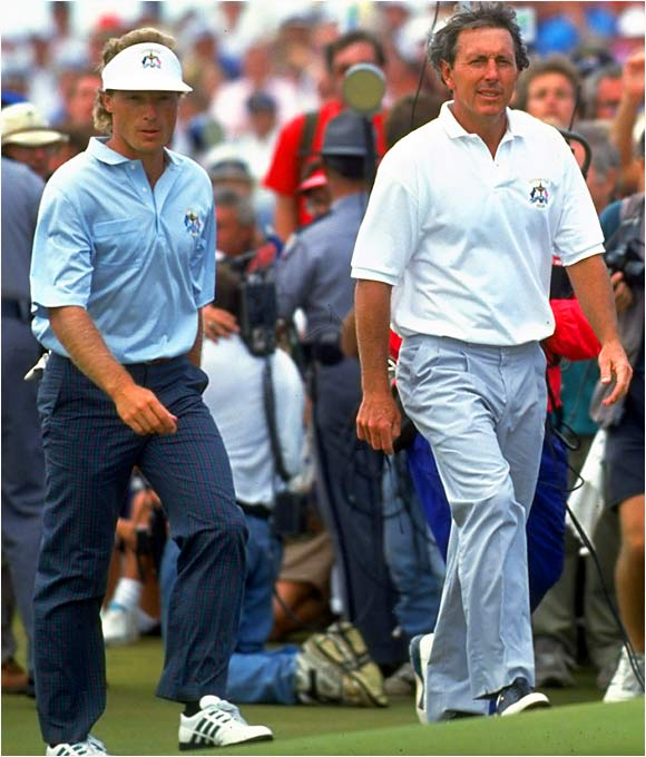 With the Cup on the line, Bernhard Langer (left) and Hale Irwin each stumbled down the stretch in their match.