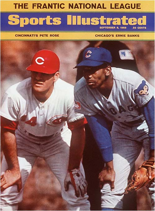 On Aug. 14, the Cubs led the Mets by 9 1/2 games in the NL East. Chicago then went 8-17 in September and finished eight games behind New York despite the presence of Hall of Famers Ernie Banks (pictured), Ferguson Jenkins and Billy Williams.