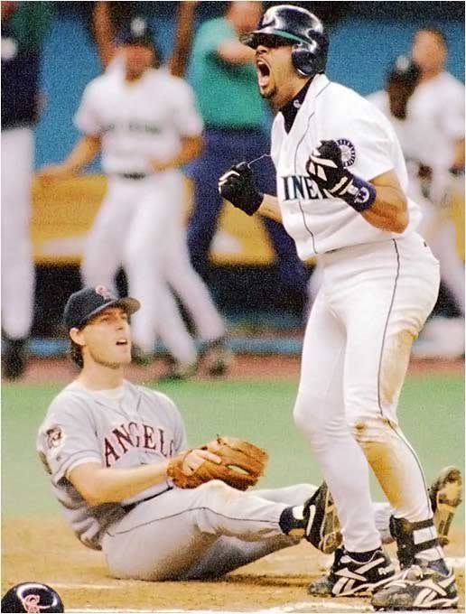 On Aug. 9, the Angels led Texas and Seattle by 11 games in the AL West. Seattle and California ended up tied, and the Mariners won a one-game playoff when they pounded Angels ace Mark Langston 9-1.